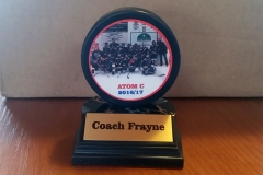 A trophy made from a hockey puck