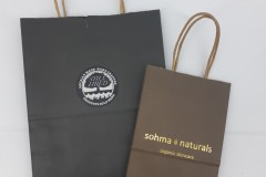 Paper bags with sticker and with foil imprint