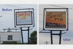 Sunset Pub sign before and after - Designed by Digby Print & Promo