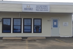 AA Munro back lit sign, window vinyl and LED open sign - Designed by Digby Print & Promo