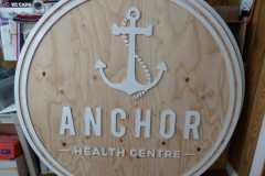 Anchor Health sign - working progress on MDO outdoor sign board